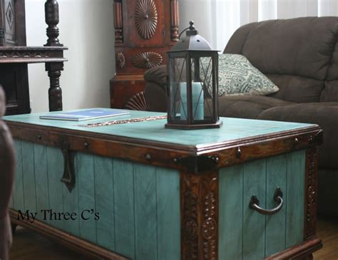 western chic home decor turquoise and dark stain trunk distressed and antiqued