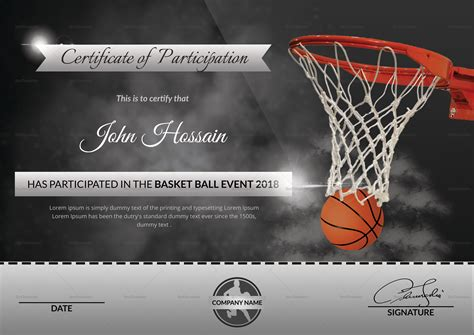 basketball templates certificate template word basketball gallery certificate