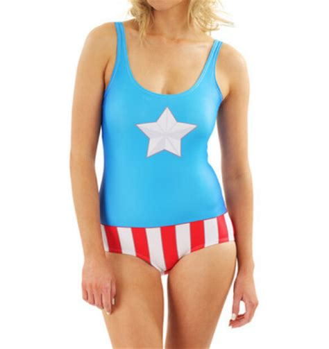 Captain America Blue Swimsuit 2016 swimsuit digital captain america print popular slim bodysuit backless pool