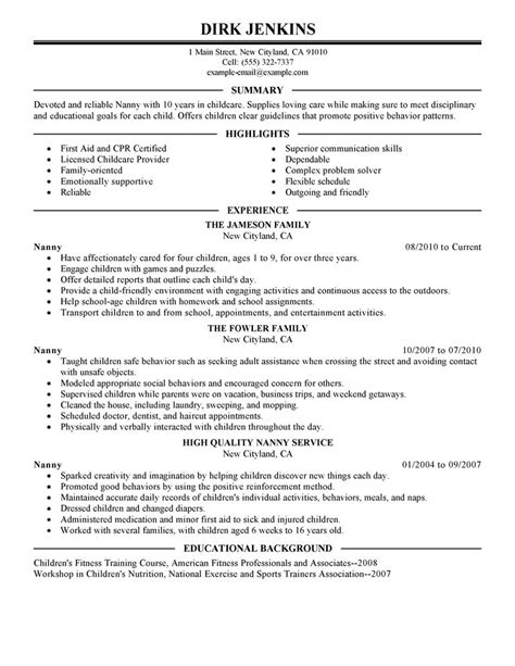 nanny description sle website resume cover letter