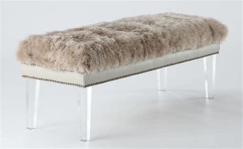 sheepskin bench luxe brown sheepskin lucite bench from tov tov o24
