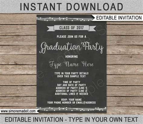 2017 Graduation Party Invitation Template Class Of 2017 Grad Party Invite Silver Glitter Graduation Invitations 2017 Templates