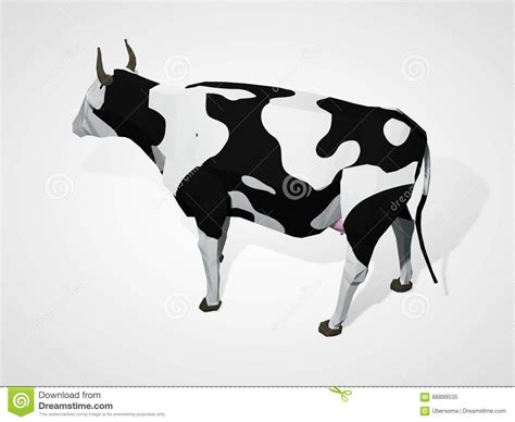 3d Origami Cow - 3d illustration of origami cow polygonal geometric style