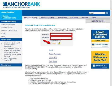 us bank login account anchor bank banking login cc bank