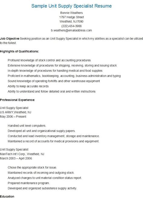 Unit Supply Specialist Sle Resume by 17 Best Images About Resame On Skin Care Specialist Supply Management And