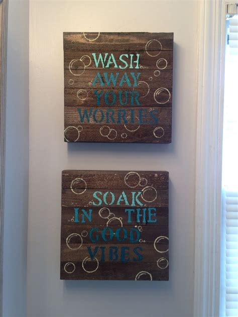 blue diy bathroom wall decor  wood canvas  walmart