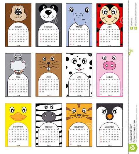 Calendario Animales Animals Calendar Stock Photography Image 35346172