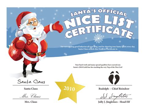 printable certificates from santa search results