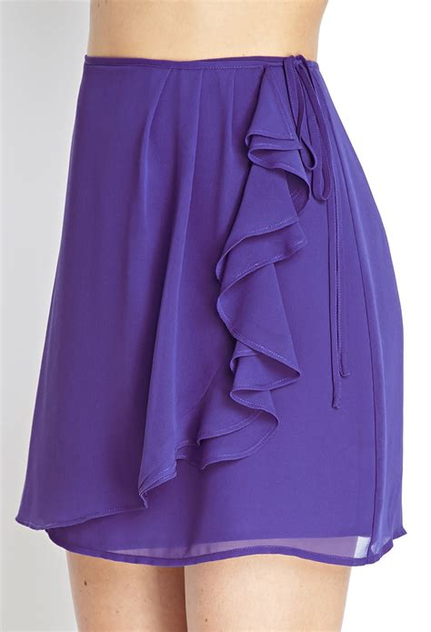 Ruffled Chiffon Skirt forever 21 chiffon ruffled wrap skirt in purple lyst
