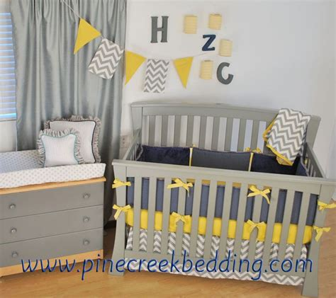 grey and yellow baby bedding grey chevron with navy and yellow crib bedding zig zag