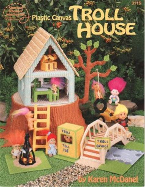 troll doll house troll doll house and forest plastic canvas new