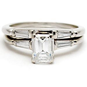 wedding rings with engraved emerald cut wedding