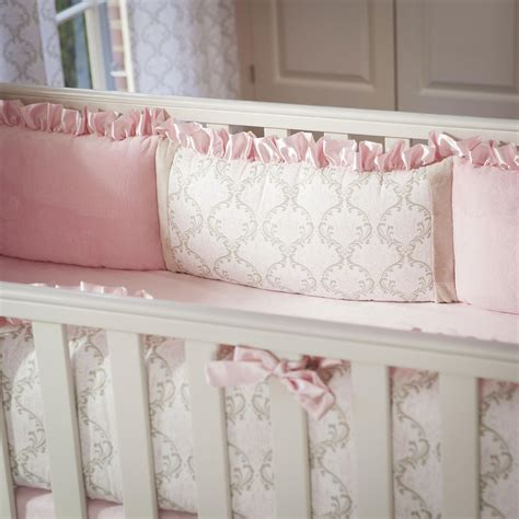 Pink And Taupe Damask Crib Bumper Carousel Designs Baby Bumpers For Crib