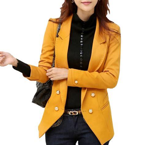 Lois Dobby Yellow Blouse Yellow fashion blazer korean style lapel