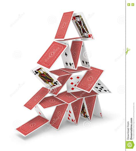 card house house of cards tower 3d collapsing stock image image of