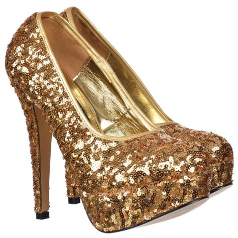 high heels gold shoes shoekandi gold sparkly sequin high heel platform stiletto