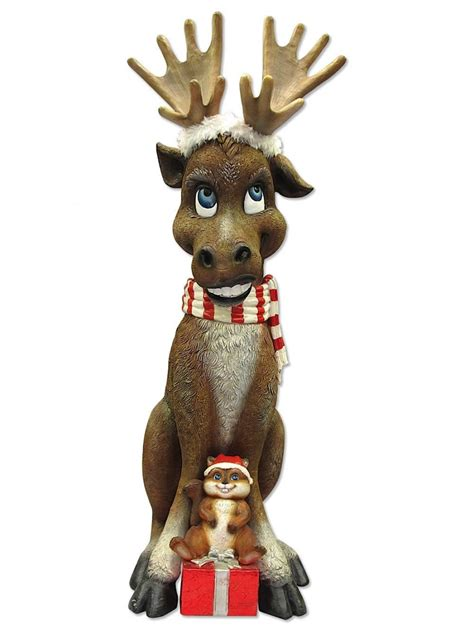 christmas moose home decor comical resin moose with chipmunk gift decor 1 2m