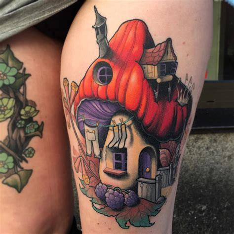 mushroom house on s thigh best tattoo design ideas