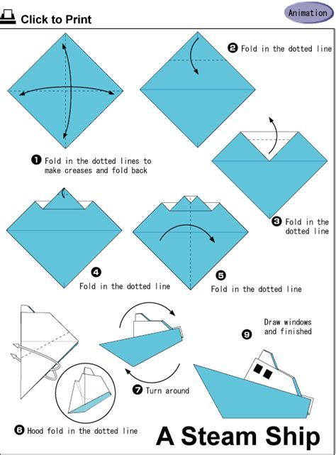 Origami Perahu Boat - half of