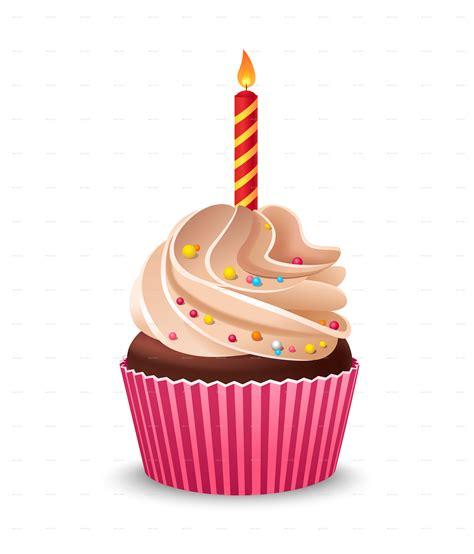birthday cupcake  burning candle  miav graphicriver