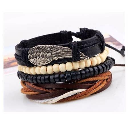 pulseras cuero hombre pulseras para hombre de cuero y madera set de 4 piel negra