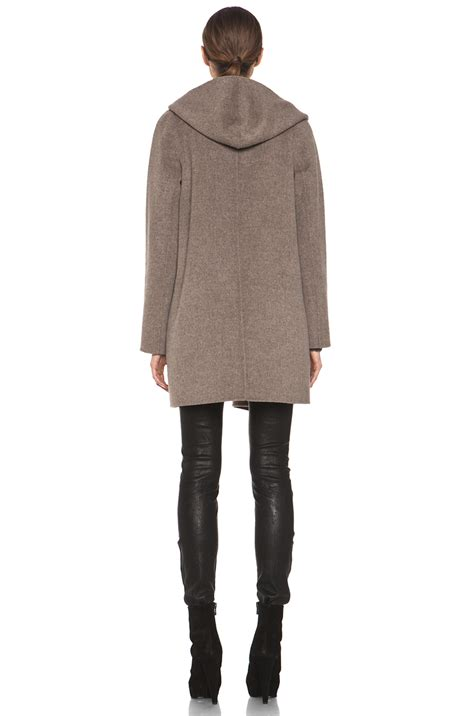 vince drape hooded coat vince drape hooded coat in heather maple fwrd