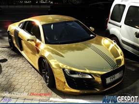 gold wrapped audi r8 car tuning