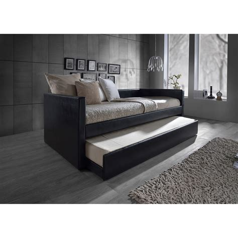 twin size day bed baxton studio risom modern and contemporary black faux leather upholstered twin size