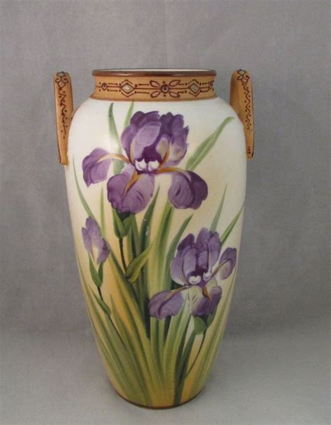 Nippon Vase Marks by Beautiful Nippon Vase Purple Iris Flowers Two Handle Blue