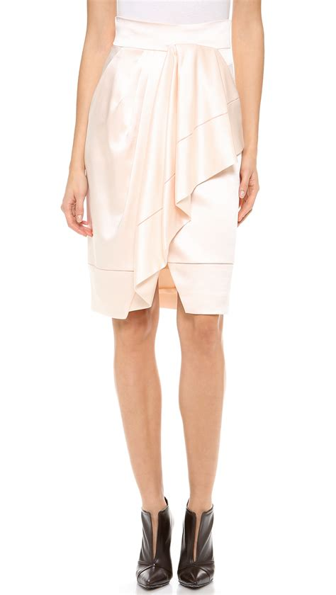 asymmetrical draped skirt j mendel asymmetrical draped wrap skirt blush in pink