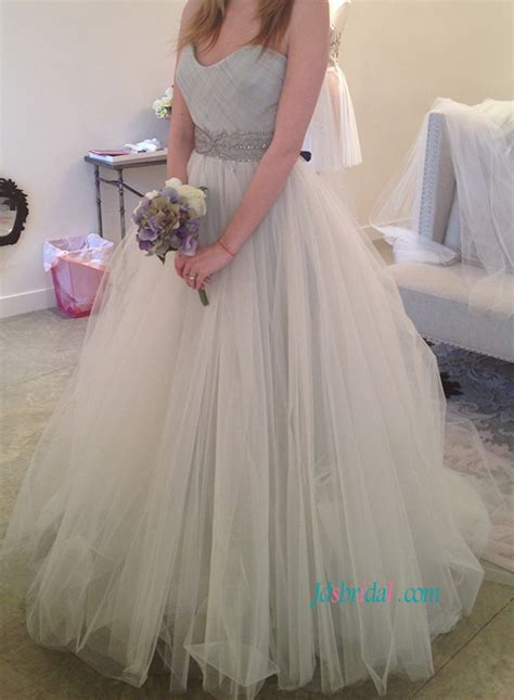 ivory colored dresses h1113 grey ivory blend colored tulle cinderella wedding