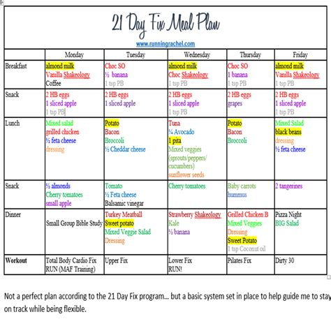 blank meal plan for 21 day fix blank calendar template printable workout calendar