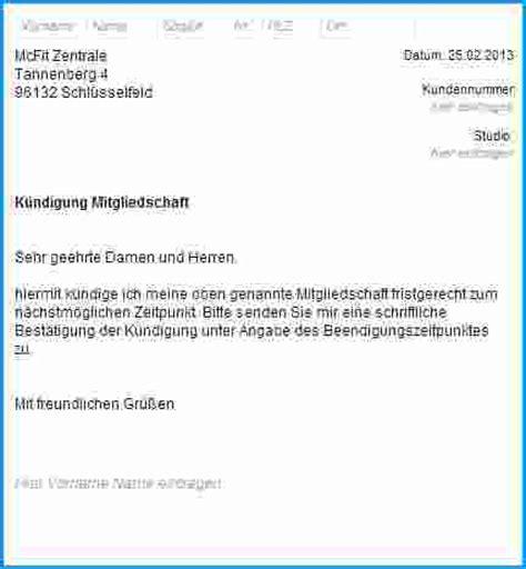 Offiziellen Brief Beispiel 6 Vorlage K 252 Ndigung Fitnessstudio Rechnungsvorlage