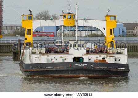 thames river ferry london woolwich ferry crossing the river thames stock photo