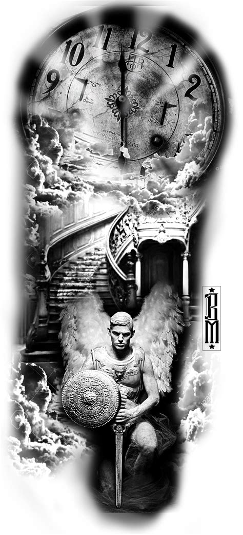 3 angels tattoo designs clock sky stairs time sky clouds design black
