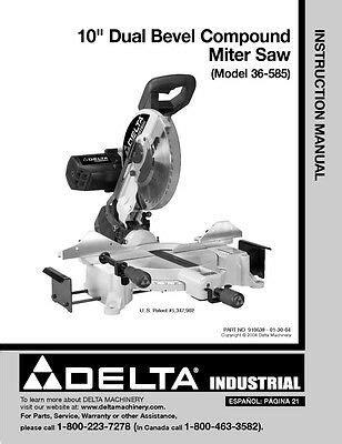 Delta 36 755 10 Amp Tilting Arbor Saw Instruction Manual