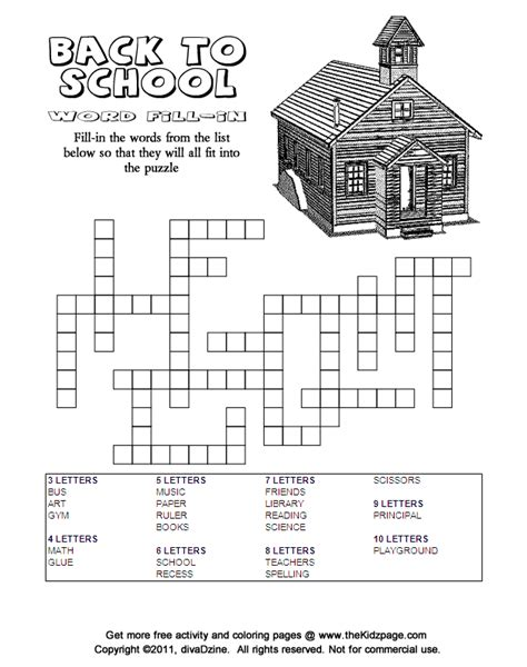 back to school word fill in answers free printable