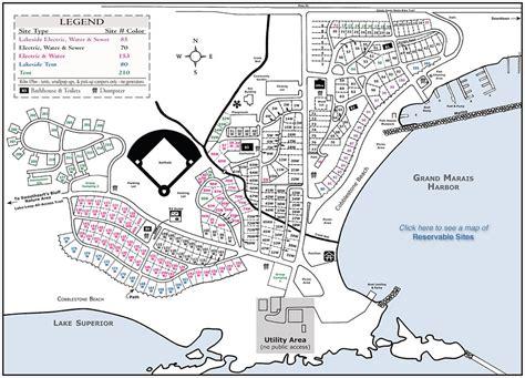 map grand cgrounds grand marais municipal rv park and cground grand