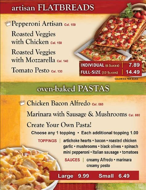 table pizza menu prices