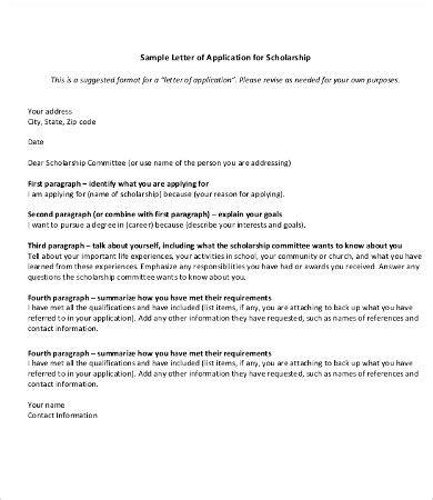 scholarship application letter templates
