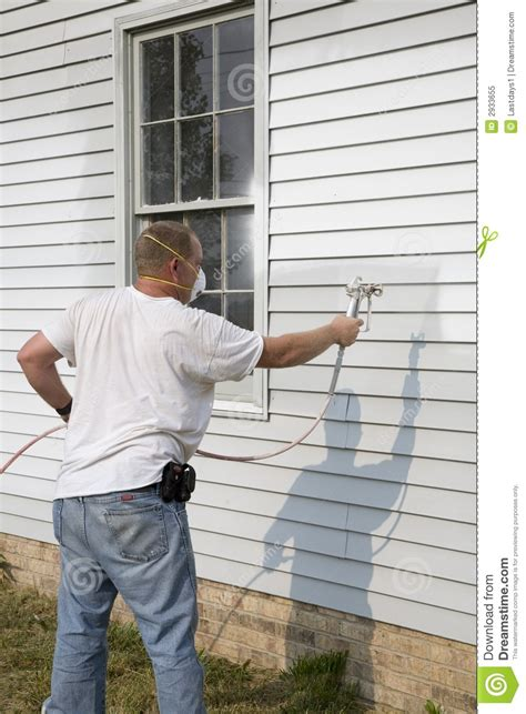 Contractor Spray Painting Stock Image Image Of High