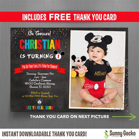 Mickey Mouse Birthday Invitation Card Mickey Mouse Chalkboard Style 7x5 In Birthday Party