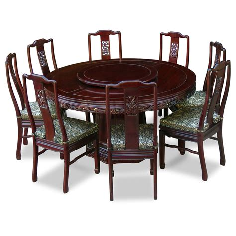 Round Carving Wood Dining Table And 8 High Back Chairs Dining Table And Chairs For 8