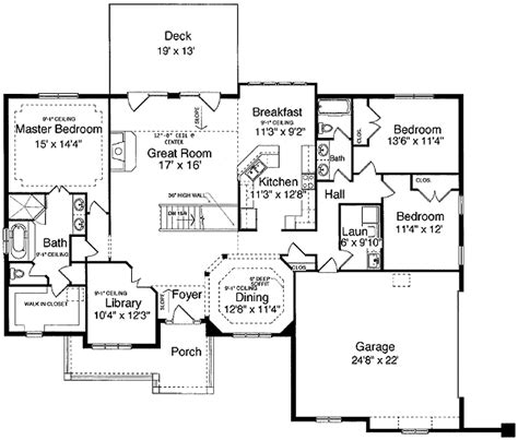 One Level House Plans by One Level Design Plus Finished Basement 3930st 1st