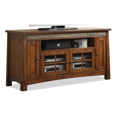 riverside furniture craftsman home 62 inch tv stand in
