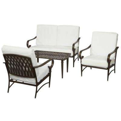 hton bay oak cliff custom 5 piece metal outdoor dining patio conversation sets outdoor lounge furniture the