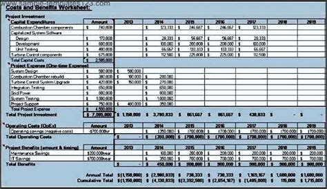 project management cost benefit analysis template sle