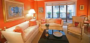 bright living room energetic orange home decor 2618