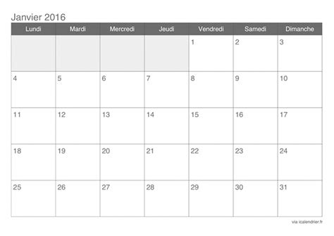 Calendrier 2016 Vierge Excel Calendrier 2016 Vierge
