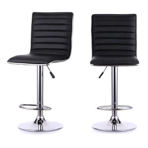 Set Of 2 Pu Leather Pneumatic Swivel Bar Stools Chairs Heavy Duty Chair Swivel